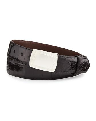 Glazed Alligator Belt with Plaque Buckle, Black (Made to Order)