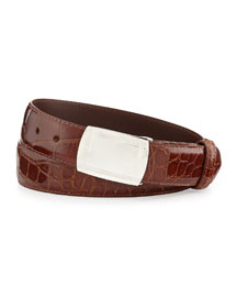 Glazed Alligator Belt with Plaque Buckle, Cognac (Made to Order)
