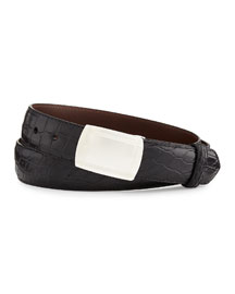 Matte Alligator Belt with Plaque Buckle, Black (Made to Order)