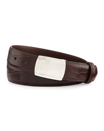 Matte Alligator Belt with Plaque Buckle, Chocolate (Made to Order)