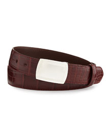 Matte Alligator Belt with Plaque Buckle, Burgundy (Made to Order)