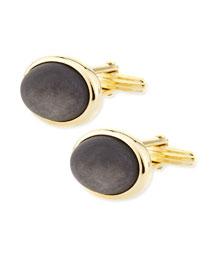 Silver Obsidian Brass Cuff Links