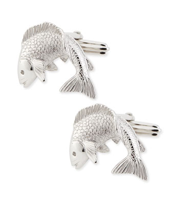 Rhodium-Plated Fish Cuff Links