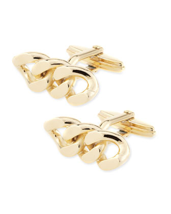 Yellow Gold Chain Cuff Links