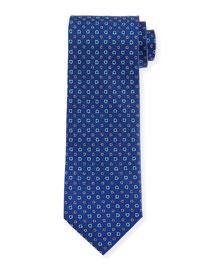 Allover Gancini-Print Woven Tie, Navy