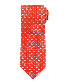Chicken-Print Woven Tie, Red