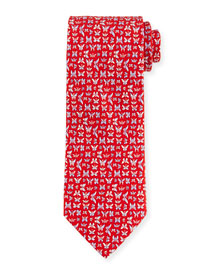 Multi-Butterfly Print Tie, Red