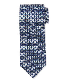 Kissing Dog-Print Woven Tie, Navy