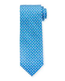 Seashell-Print Woven Tie, Blue