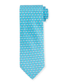 Tugboat-Print Woven Tie, Blue