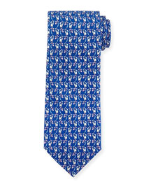Elephant & Palm Tree-Print Tie, Navy