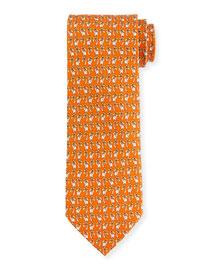 Elephant & Palm Tree-Print Tie, Orange