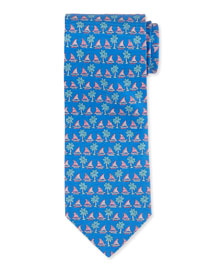 Sailboat & Palm Tree-Print Woven Tie, Blue