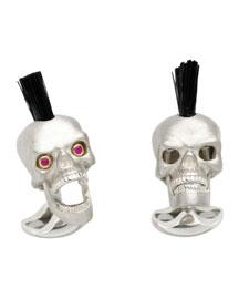 Sterling Silver Mohawk Skull Cuff Links