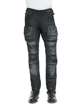 Utility Cargo Biker Denim Jeans, Black