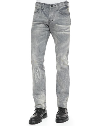 Selvedge Faded Wash Slim-Fit Jeans, Gray