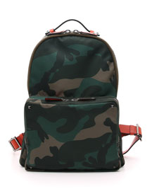 Men's Camo Nylon Backpack, Green
