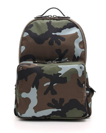 Men's Camo Nylon Backpack, Dark Green