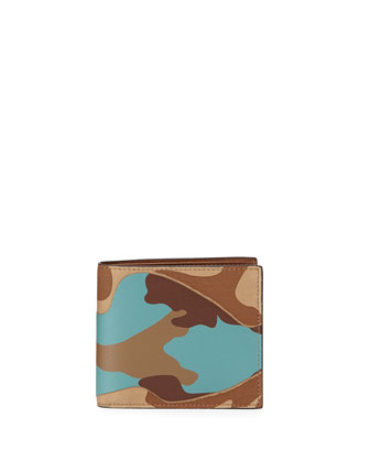 Camo-Print Bi-Fold Wallet, Dark Camel