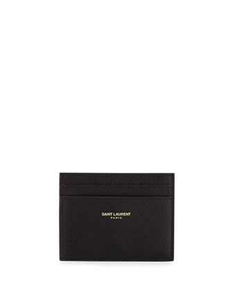 Grained Leather Card Case, Black