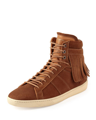Suede Fringe-Detail High-Top Sneaker, Black