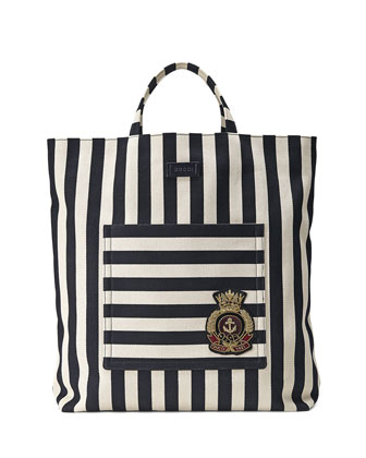 Men's Striped Cotton/Linen Canvas Tote Bag, Blue/White