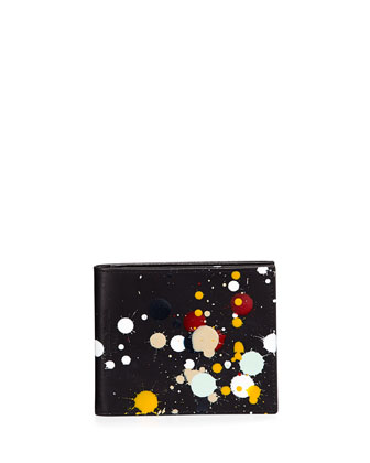 Paint-Splatter Leather Wallet, Black