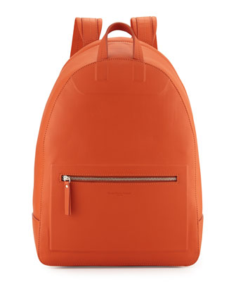 Zip-Top Leather Backpack, Orange
