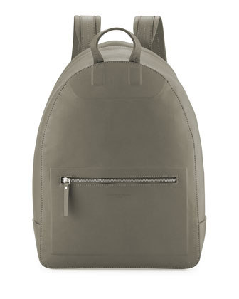 Zip-Top Leather Backpack, Olive Green