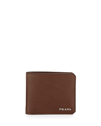 American Saffiano Bi-Fold Wallet, Brown