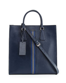 Large Saffiano Travel Tote Bag, Navy