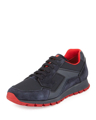 Low-Top Trainer Sneaker, Navy/Red