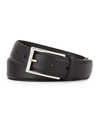 Saffiano Buckle Belt, Black