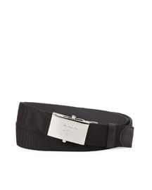 Reversible Striped Nylon Belt, Black/Gray
