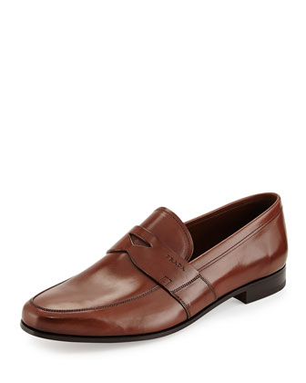 Smooth-Leather Penny Loafer, Light Brown