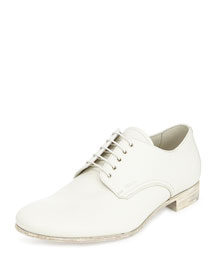 Wooden Heel Leather Lace-Up, White