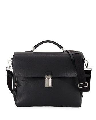 Vitello Flap-Top Briefcase, Black
