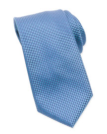 Micro-Check Check Tie, Turquoise
