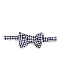 Houndstooth Jacquard Bow Tie, Blue/Cream