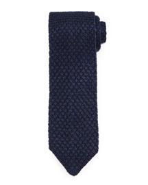Diamond-Pattern Knit Tie, Navy
