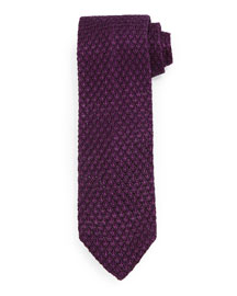 Diamond-Pattern Knit Tie, Purple