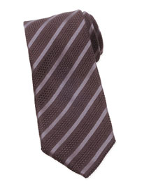 Diagonal-Striped Tie, Brown