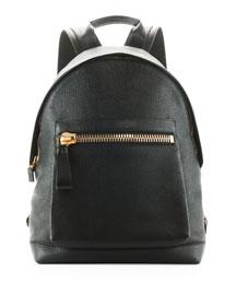Zip-Pocket Pebbled Backpack, Black