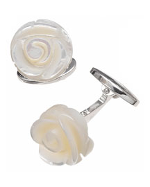 Carved Rose Cuff Links