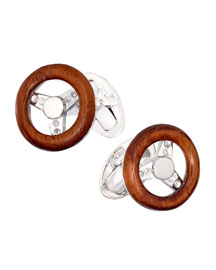 Wooden Steering Wheel Cuff Links