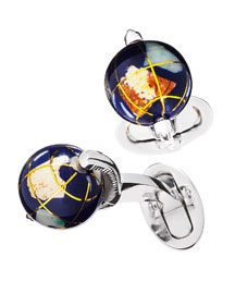 Spinning Lapis Inlay Globe Cuff Links
