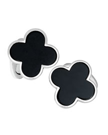Onyx Clover Cuff Links