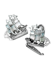 Ship w/ Treasure Bottom Cuff Links