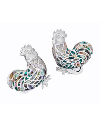 Abalone & Mother-of-Pearl Rooster Cuff Links