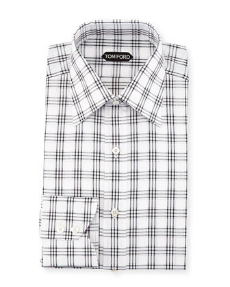 Checkered Dress Shirt, Black/White
